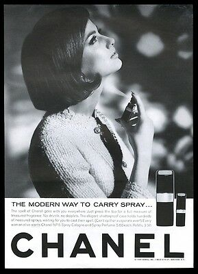 1964 Chanel No.5 spray cologne and perfume woman photo vintage print ad