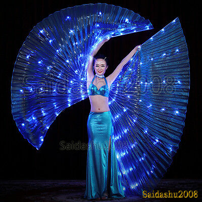 rechargeable LED isis wings belly dance club glow light up costume sticks bag