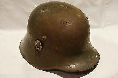 WW1 Imperial German M16 Austrian-Made Helmet w/ Liner & Nat'l Afghan Army Badge