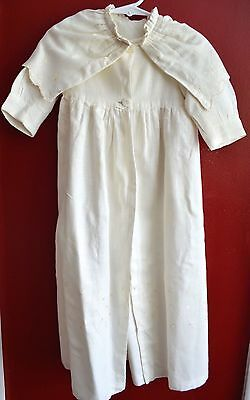 Vintage Antique Infant Christening Coat Hand Embroidered White Pintucks Adorable