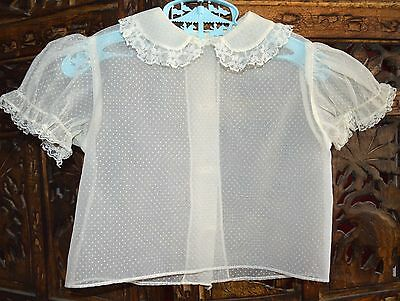 VINTAGE 1950s GIRLS WHITE DOTTED SWISS NYLON BLOUSE PINKY TOWN LACE TRIM SZ 5-6