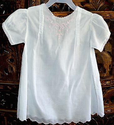VINTAGE 1950s INFANT GIRLS WHITE DRESS PINK TRIM PINTUCKS LACE EMBROIDERY 12 M
