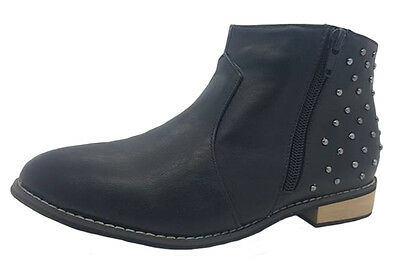 06ea04b66e97 Girls Boots Grosby Anabelle Black Fashion Ankle Boot Size 13-5 Low Heel Zip  Up