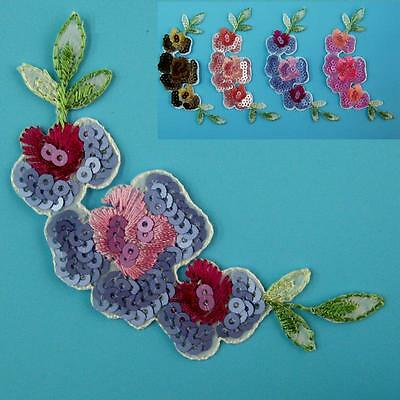 Rose Flower Motif Iron on Sew Patch Sequin Applique Badge Embroidered Dress Cute