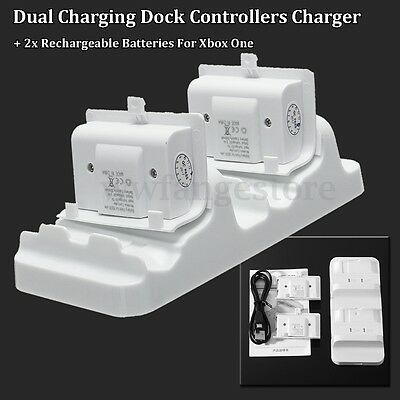 AU Dual Charging Dock Charger + 2 Rechargeable Battery For Xbox One Controller