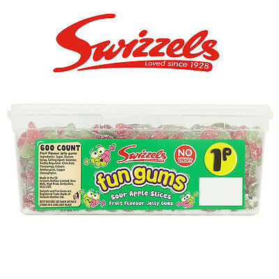 Swizzels Fun Gums Sour Apple Slices Tub Sweets Candy Box Birthday Party Favours
