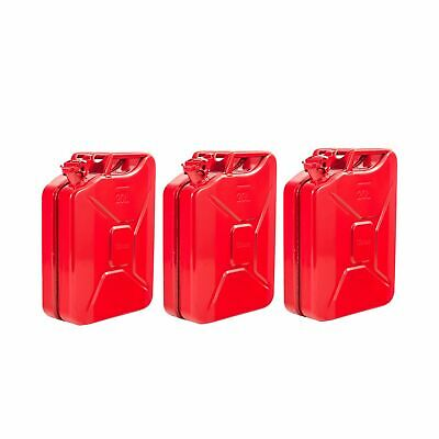3 x 20L Red Fuel Diesel Petrol Oil Water Jerry Metal Tin Can