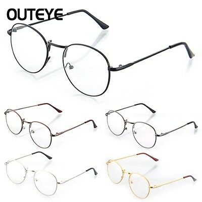 Retro Vintage Nerd Spectacles Eyeglass Metal Frame Flat Clear Round Lens Glasses