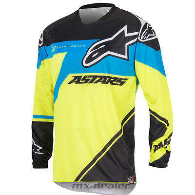 16 Alpinestars Racer Supermatic neongelb blau mx motocross Cross Jersey Shirt