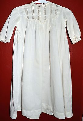 Antique Vintage Christening Gown Fine Cotton French Lace Pintucks Medium Length