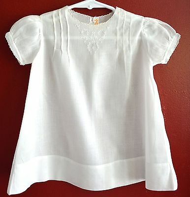 Vintage White Fine Cotton Christening Gown Dress Fine Embroidery Infant 3-6 Mo