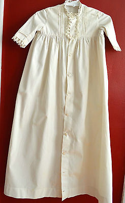 Antique Christening Gown Pintucks & Crochet Edging Button Front 100% Cotton