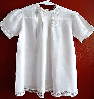 Vintage White Fine Cotton Christening Gown Dress Pintucks Embroidery Infant