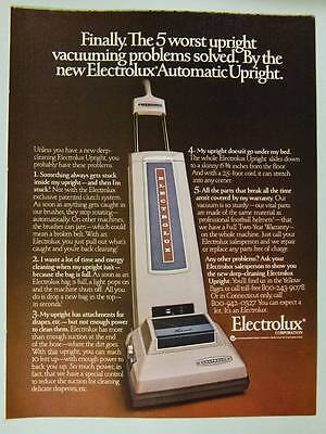 1980 Electrolux Vacuum Cleaner - Vintage Magazine Ad Page - Automatic Upright