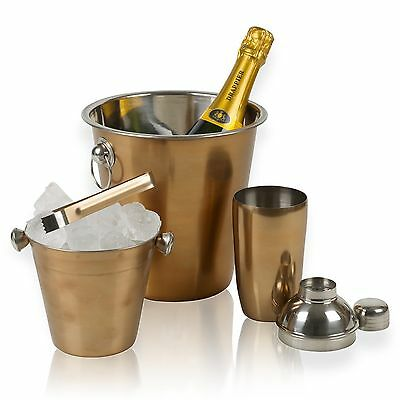 4pc Copper Drinks Bar Set Champagne Wine Ice Bucket Cocktail Shaker Jigger