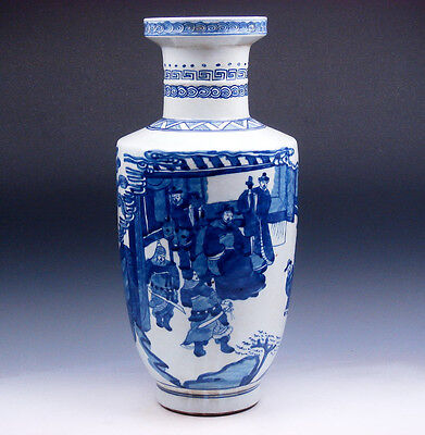 "15.5"" EXTRA LARGE Blue&White Vase Glazed Porcelain Warriors Figurines Scenery"