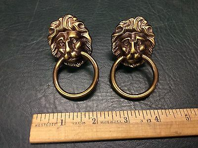 Pair of Vintage Cast Brass Lion Heads Drawer Pulls Architectural Hardware A470
