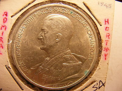 Hungary Silver 5 Pengo, 1939, Admiral Miklos Horthy
