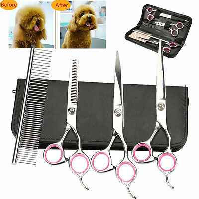 """7""""Professional Pet Dog Grooming Scissors Set Straight&Curved&Thinning Shears Kit"""