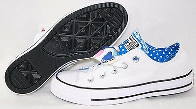 3cd08b653eb NEW Womens CONVERSE CT All Star Double Tongue 56865F White Blue Sneakers  Shoes
