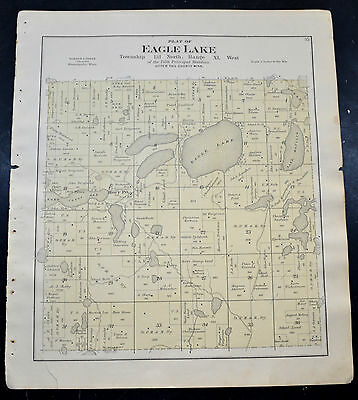 1884 OTTER TAIL COUNTY MAP MINNESOTA Eagle Lake and Clitherall Townships