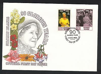 SOLOMON ISLANDS 1990 90th BIRTHDAY QUEEN MOTHER FIRST DAY COVER FDC