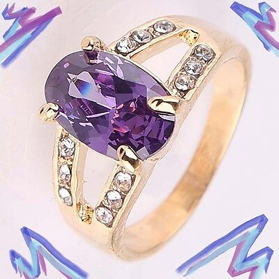 New Size 9 1/4 Amethyst and Crystal Ring + GiftBox! 9.25 14kt Yellow Gold Filled