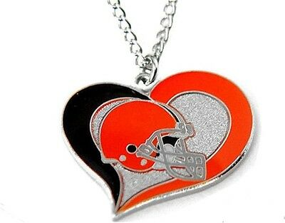 """Cleveland Browns Football Team Logo NFL Heart Swirl Charm Silver 20"""" Necklace"""