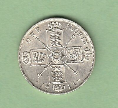 1911 Great Britain One Florin Silver Coin - George V - EF