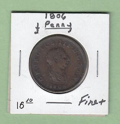 1806 Great Britain 1/2 Penny Copper Coin - George III - Fine+