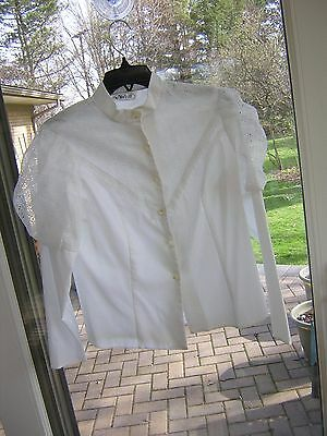 #222 Womans Vintage White Victorian Style Blouse Leg O'mutton Sleeves & Eyelet S