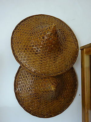 Pair Thai ASIAN CONICAL Hat bamboo straw VINTAGE COOLIE RICE PADDY FARMER