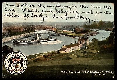 Antique Pleasure steamer entering docks Bristol old town postcard