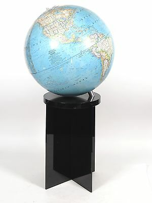 "Vintage 1976 National Geographic 16"" World Globe w/Black Lucite Stand"