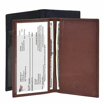 Checkbook Cover Plain Set Of 2 Black Brown Genuine Leather New Great Gift Idea 1