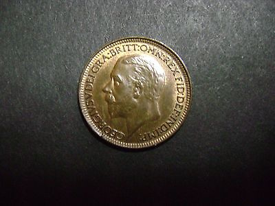 1927 GREAT BRITAIN GEORGE V As KING TONED FARTHING UNC  Details KM825
