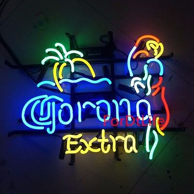 Corona Extra Parrot Palm Handcraft Real Glass Neon Light Beer Bar Pub Wall Sign