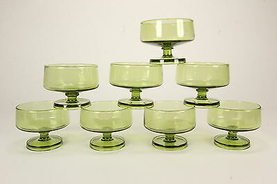 8 Mid Century Modern Green Glass Coupe Squat Sherbets Stackable 6 Oz Stems