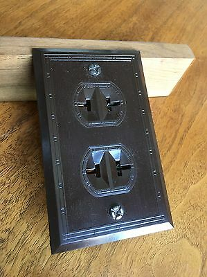 NEW OLD STOCK 1940's Paulding Brown BAKELITE Double Outlet Wall Plate Combo