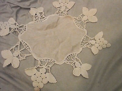 "Vintage LACE  Antique LINEN Doily Crochet GRAPES Leaves UNIQUE 18"" Octagon"