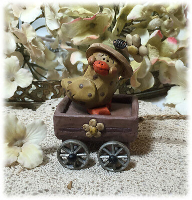 Vintage Suzi Skoglund Dotted Chick Wearing Bonnet in Rolling Wagon Snail Pull