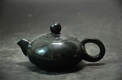 Unique Chinese hetian jade hand carved Teapot ve5
