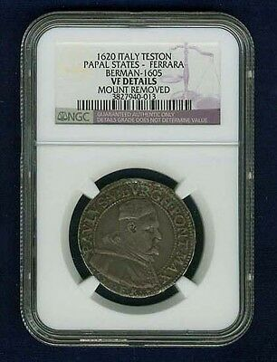 "Italy Papal States - Ferrara 1620 Teston Silver Coin, Certified Ngc ""vf Details"""
