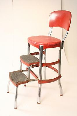 Vintage COSCO STEP STOOL chair red vinyl industrial metal folding mid century
