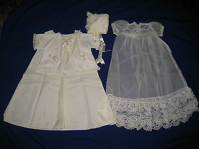 Vintage Infants Baby Christening Outfit-Bonnet-Undergown-Sheer Overgown-Jacket