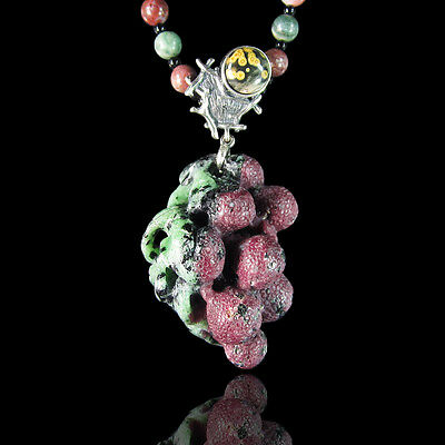 Carved Ruby In Fuchsite Waxberry Necklace DC313017
