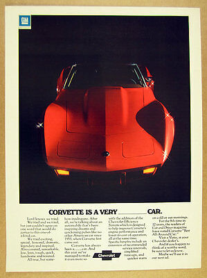 1975 Chevrolet Corvette red convertible photo vintage print Ad