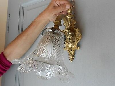 Antique french BRONZE WALL Light SCONCE w/ Caryatid Figure