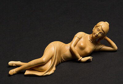 TJ115 -18*5.8*5.5 CM Detailed Carved Boxwood Carving -Pretty Girl Woman Lady