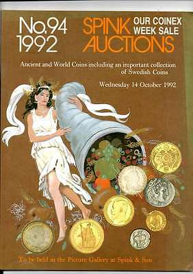 Spink Auction Catalogue No 94 1992 Ancient And World Coins Inc Swedish Coins